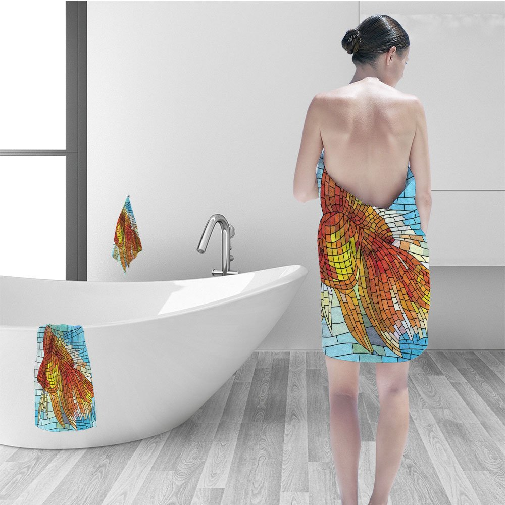 Hand towel set Fish Personalized Decor Abstract Design for Bathroom Orange Tropical Fish Style Mosaic Art Pattern Stained Glass Window and Gold Fish Underwater Blue Ocean Decorations Print 副