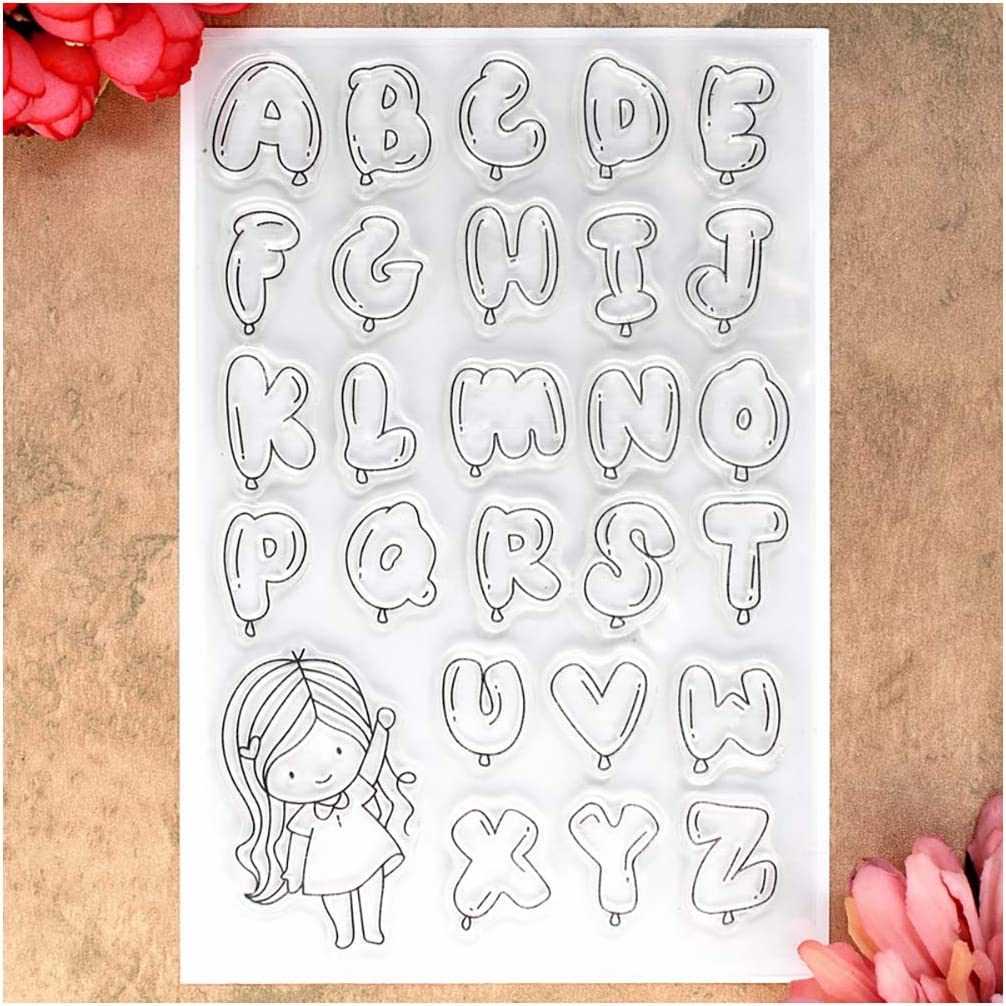 Kwan Crafts ABC Balloons Girl English alphabet Letters Clear Stamps for Card Making Decoration and DIY Scrapbooking