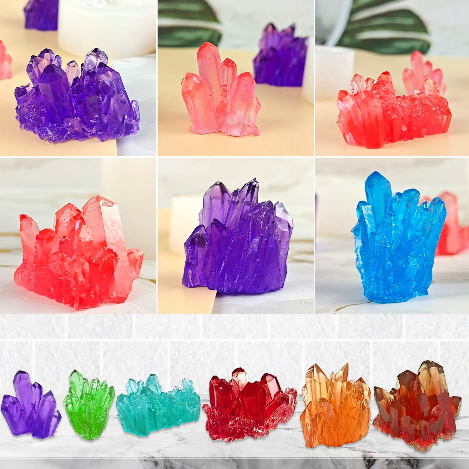 Isomalt Gems Home Centerpiece Decor Silicone Growing Crystal Cluster Quartz Rock Mould for Druzy Fondant Cake Decoration Mity rain 6 Pcs Resin Crystal Moulds Polymer Clay
