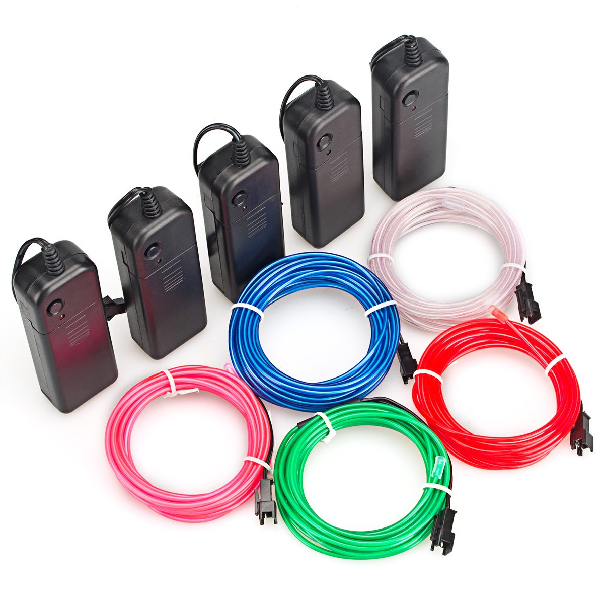Zitrades EL Wire Kit 9ft, Portable Neon Lights for Parties, Halloween, Blacklight Run, DIY Decoration (5 Pack, Each of 9ft, Red, Green, Pink, Blue, White)