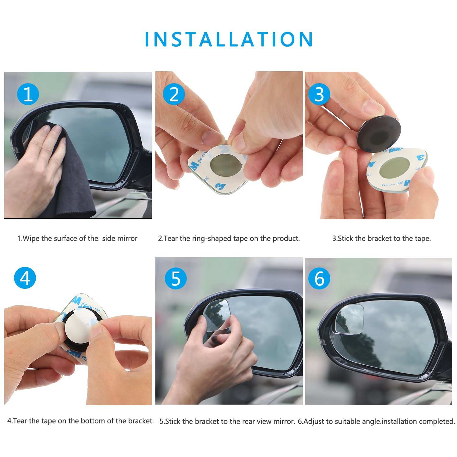 etc 2 Sector Blind Side Mirror Convex Stick-On Adjustable HD Glass Rust Resistant for Cars 2 Sector Blind Side Mirror Convex Stick-On Adjustable HD Glass Rust Resistant for Cars SASUM Pack of 2 Blind Spots Mirror SUVs RVs