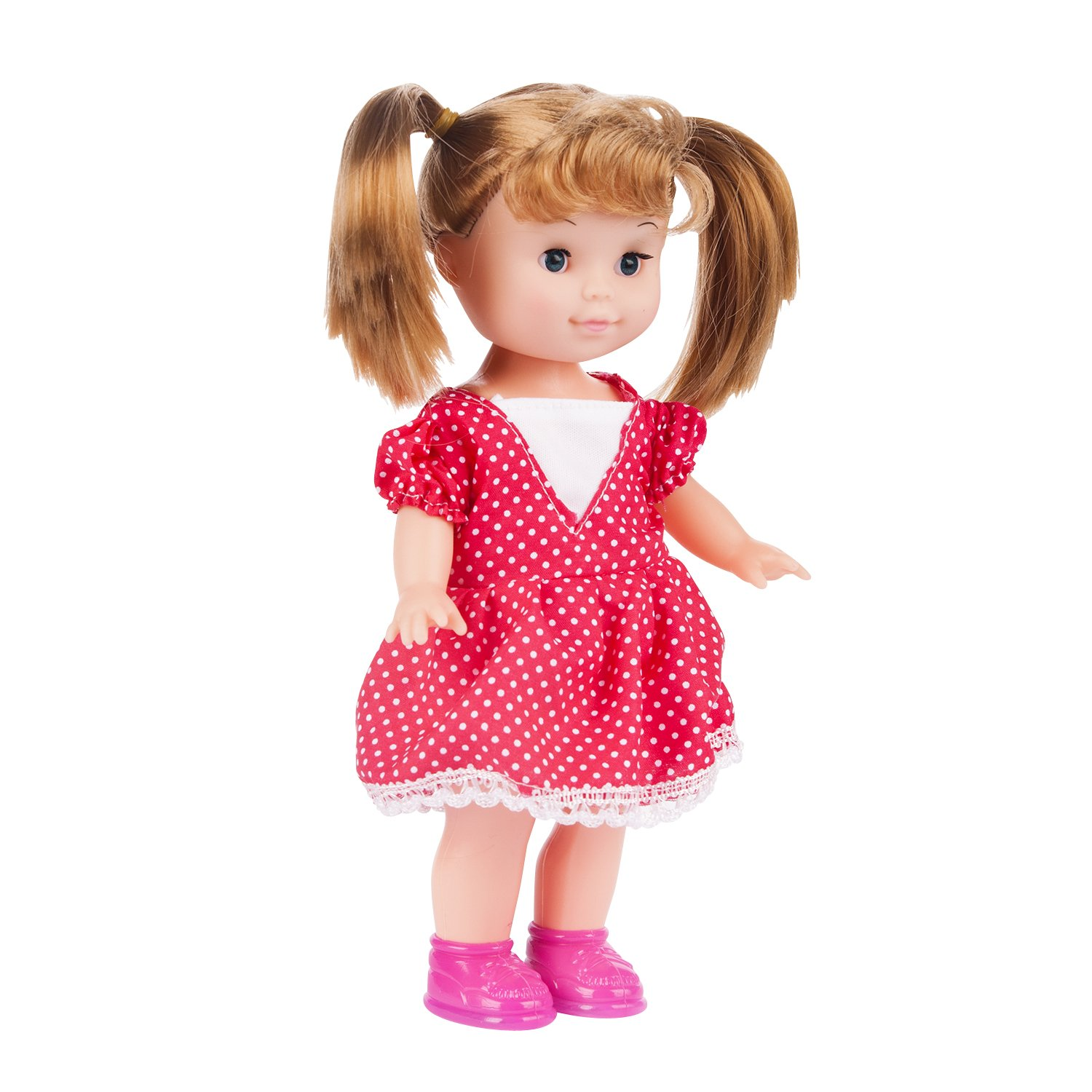 Vinyl Body Baby Doll with Hair and Outfit Little Girl Fashion Doll Set Pink Doll for Little Girls Pink Fashion Doll Birthday Gift Huggable Snuggle Vinyl Toy Play Doll Purplecart