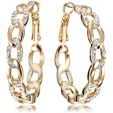 Gemini Women's Jewelry 18K Gold Filled CZ Diamond Hoop Pierced Earring for Women Valentine's Day Gifts Gm039Rg