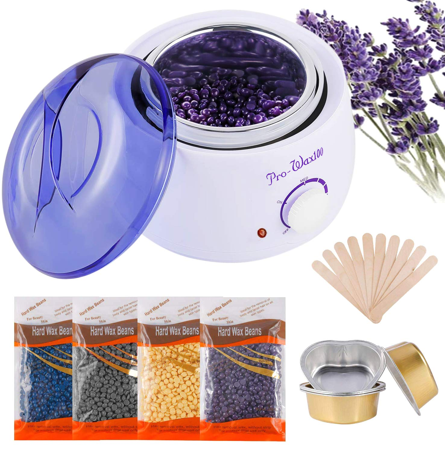 Wax Warmer, Hair Removal Home Waxing Kit with 4 packs Hard Wax Beans and 10 Wax Applicator Sticks for Full Body, Legs, Face, Eyebrows, Bikini Women Men Painless At Home Waxing(white)