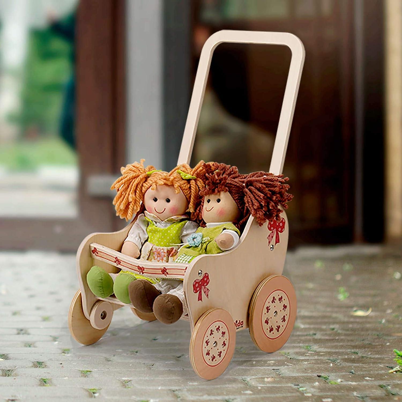 Dida Der Spielwagen Ist Ideal F/ür Den Kindergarten und Zu Hause Der Puppenwagen Aus Holz Dekoration Tiere Im Wald ist EIN Holzpuppenwagen Zum Schieben Der Puppen Der Kleinkinder