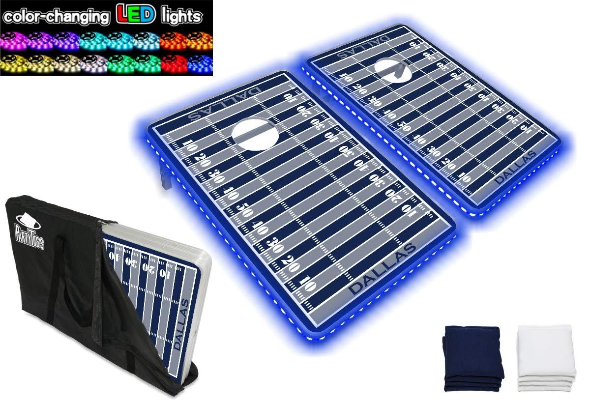 PartyPongTables.com ダラスフットボール 3フィート x 2フィート アルミニウム コーンホールゲームセット - LEDライト-強化アルミニウムフレーム - 厚板表面 B07HD1JZXH  LEDライト付き