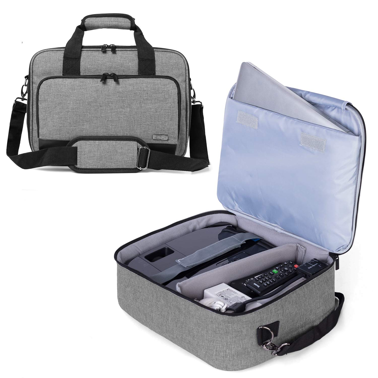 Luxja Projector Case, Projector Bag with Protective Laptop Sleeve, Projector Carrying Case with Accessories Pockets (Compatible with Most Major Projectors), Gray by LUXJA
