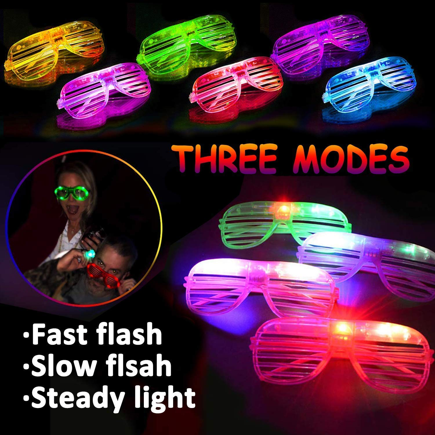 TURNMEON 20 Pack LED Glasses,5 Color Light Up Plastic Shutter Shades Glasses Shades Sunglasses for Adults Kids Glow in the Dark Party Favors Neon Party Supplies Independence Day Glow Toy by TURNMEON (Image #3)