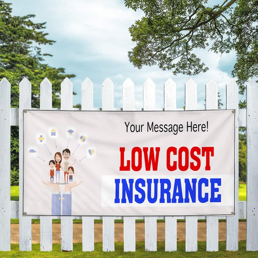 Custom Industrial Vinyl Banner Multiple Sizes Low Cost Insurance Personalized Text Business Outdoor Weatherproof Yard Signs Red 4 Grommets 24x60Inches