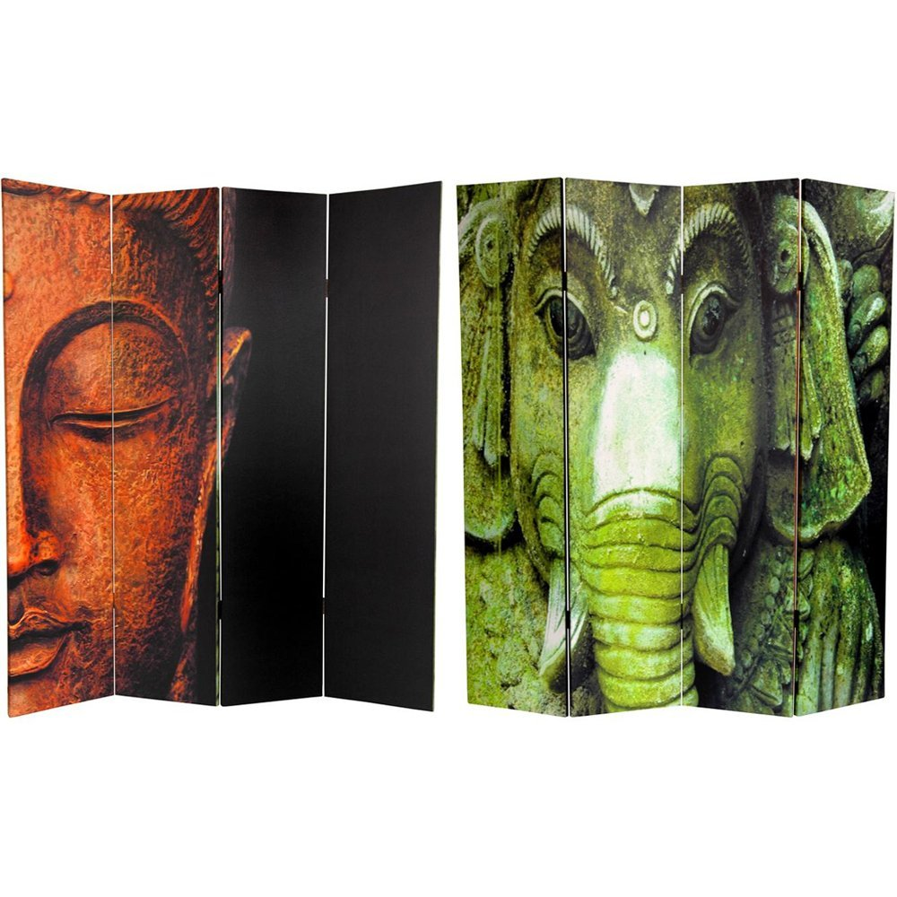Oriental Furniture 6 ft. Tall Double Sided Buddha and Ganesh Canvas Room Divider