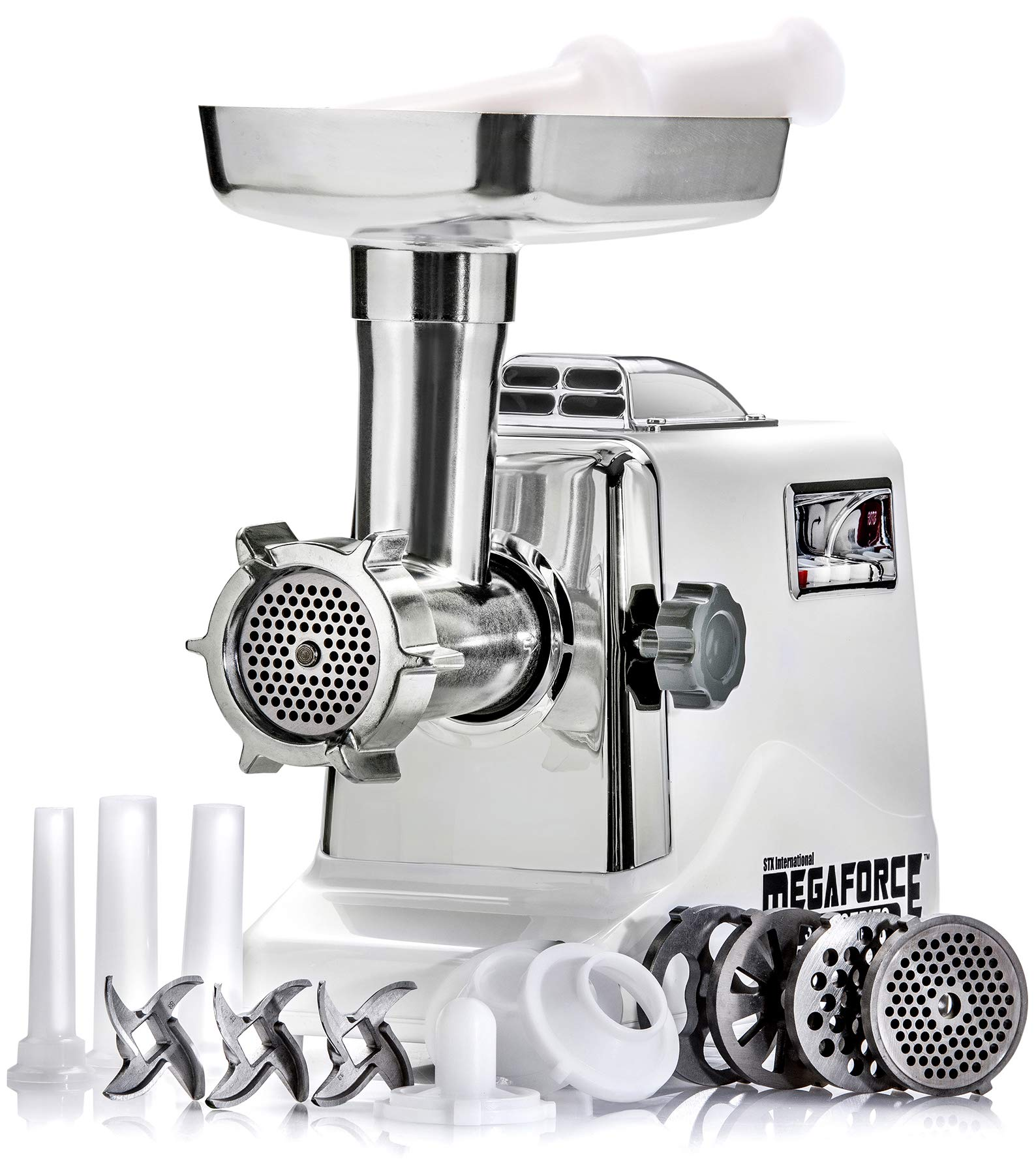 STX INTERNATIONAL STX-3000-MF Megaforce Patented Air Cooled Electric Meat Grinder with 3 Cutting Blades, 3 Grinding Plates, Kubbe and 3 Sausage Stuffing Tubes by STX INTERNATIONAL