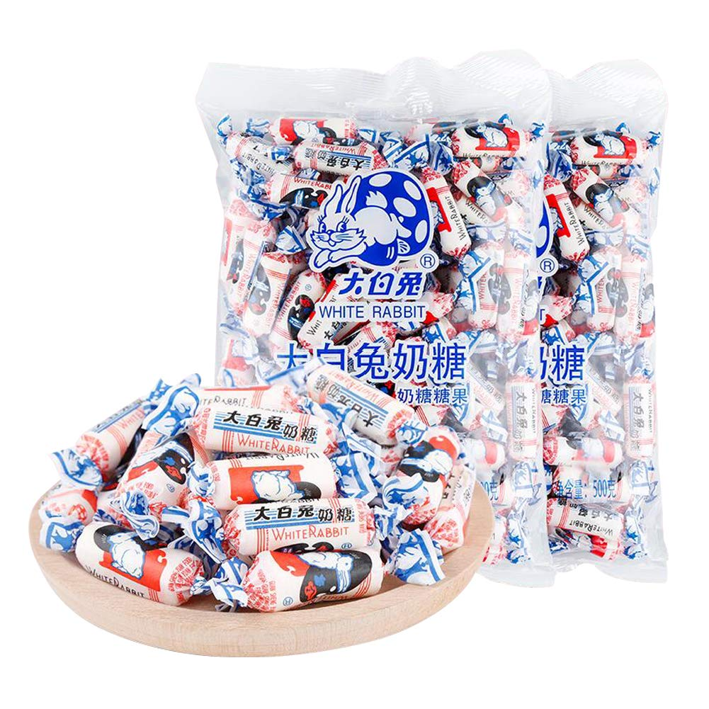Hfmy, Chinese specialty, colloidal white rabbit milk candy, pure milk flavor, 2 packages, 500 grams per pack, a total of 1000 grams