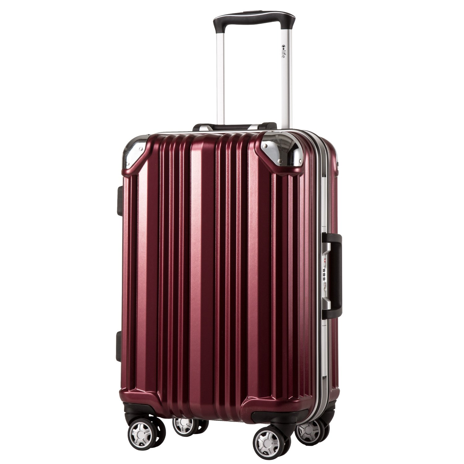 Coolife Luggage Aluminium Frame Suitcase 3 Piece Set with TSA Lock 100%PC (L(28in), Wine red)