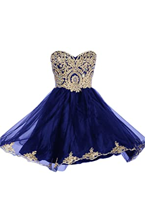 99Gown Prom Dresses Short Lace Prom Homecoming Dresses Affordable Beautiful Sparkly Dress, Color Royal Blue