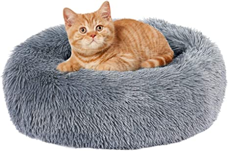 5 Sizes for Small Medium Large Pet Cats Dogs EMUST Pet Cat Bed Dog Bed Anti-Slip Marshmallow Dog Beds Round Donut Cat Beds for Indoor Cats Multiple Colors