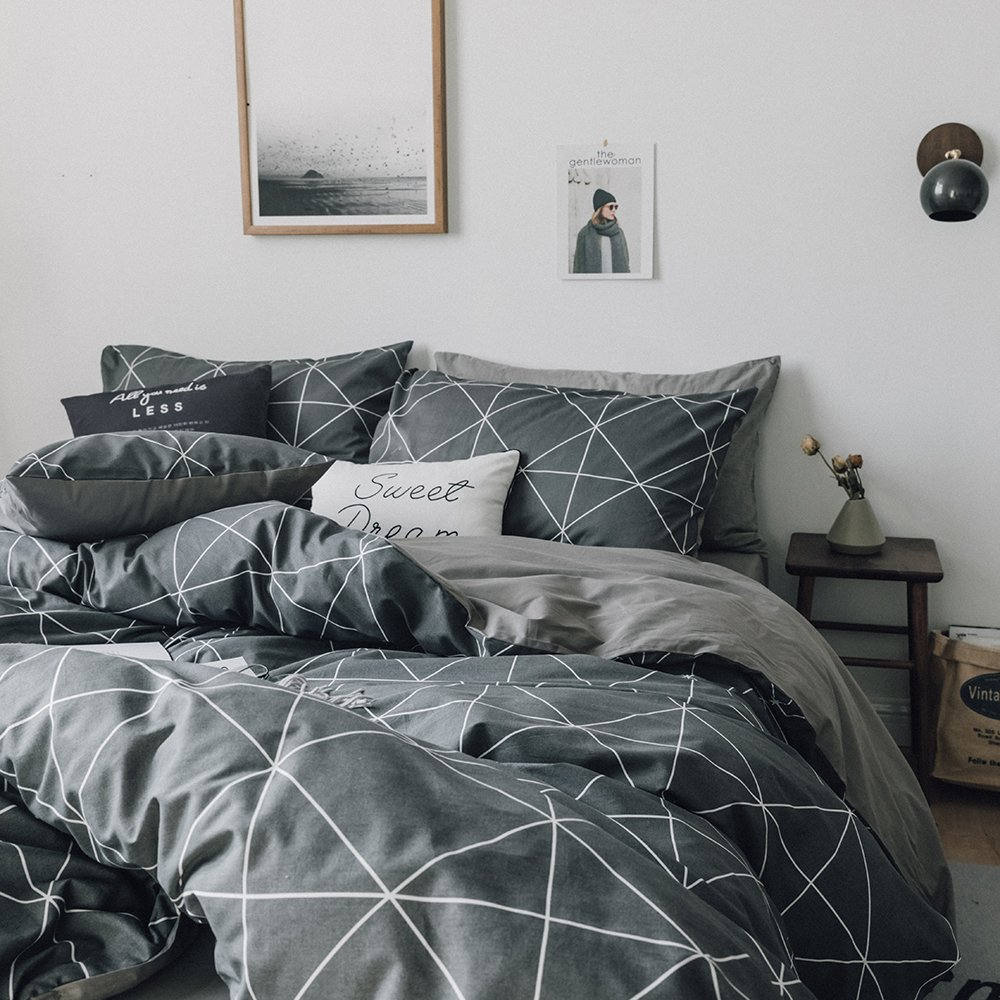 HIGHBUY Premium Cotton Full Bedding Sets Grey Comforter Cover Set Queen Duvet Cover for Boys Men Geometric Plaid Duvet Cover Full 3 Pieces Full Queen Bedding Collection,Lightweight by HIGHBUY (Image #6)