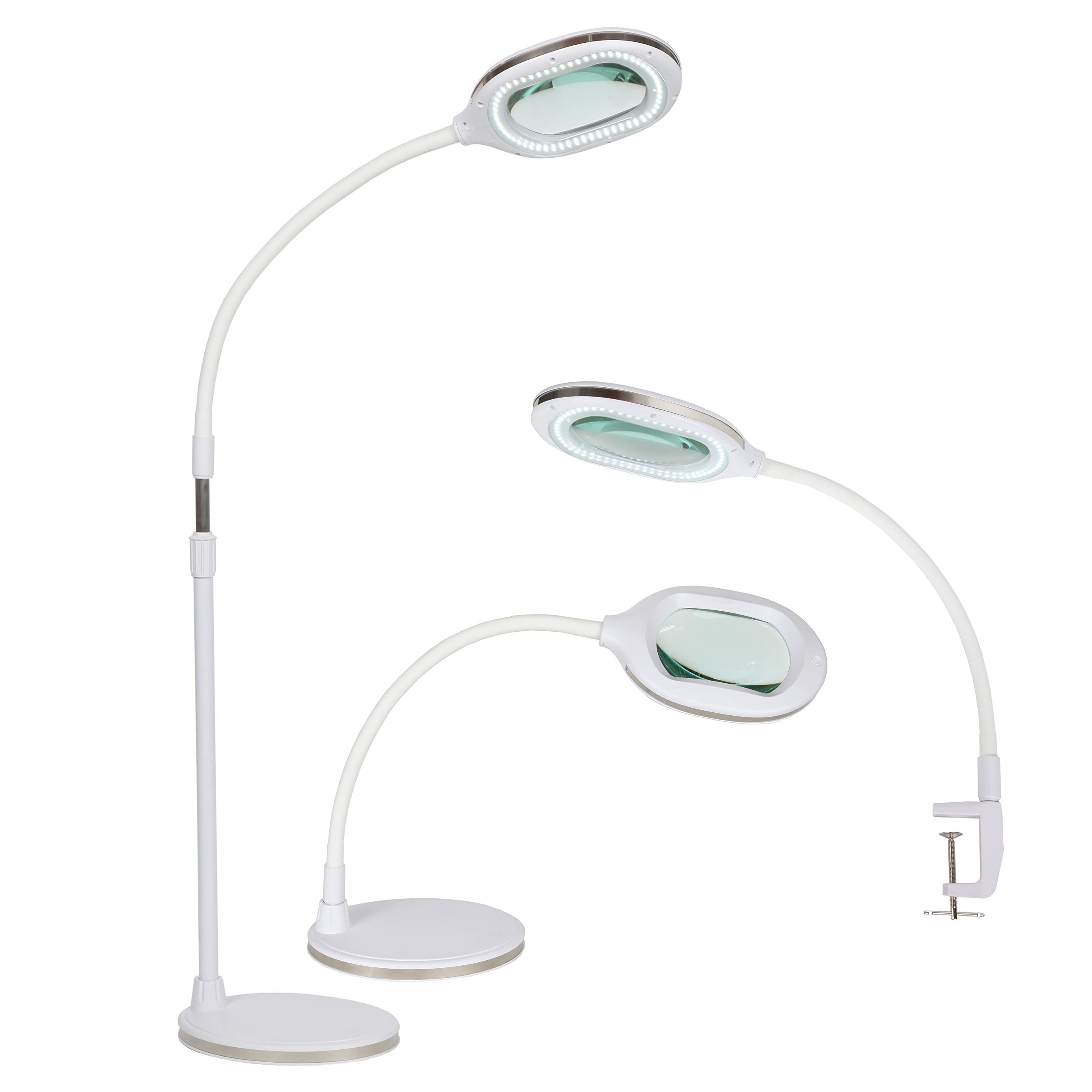 Brightech Lightview Pro 3 in 1 LED Magnifying Glass Floor Lamp- Use as a Table, Floor, or Desk Lamp - Real Diopter Glass Lens – Height Adjustable Gooseneck Standing Light – White by Brightech (Image #2)