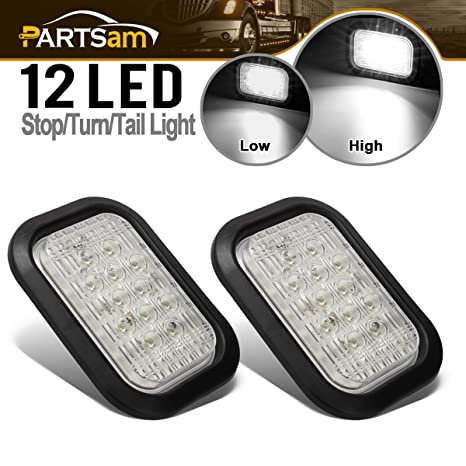 Partsam 2 X 12 Led Truck Trailer Stop Turn Tail Reverse Backup Lights White 5 X3 Flush Mount 12v Sealed 5x3 Rectangle Rectangular Led White Back Up