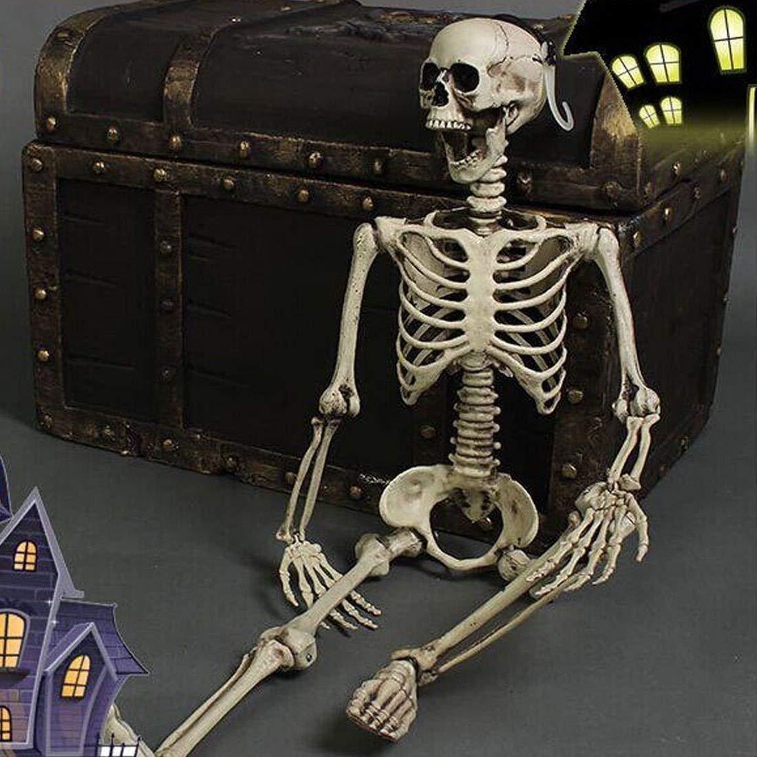 Thee Halloween Scary Skull Bone Realistic Party Human Skeleton Decor