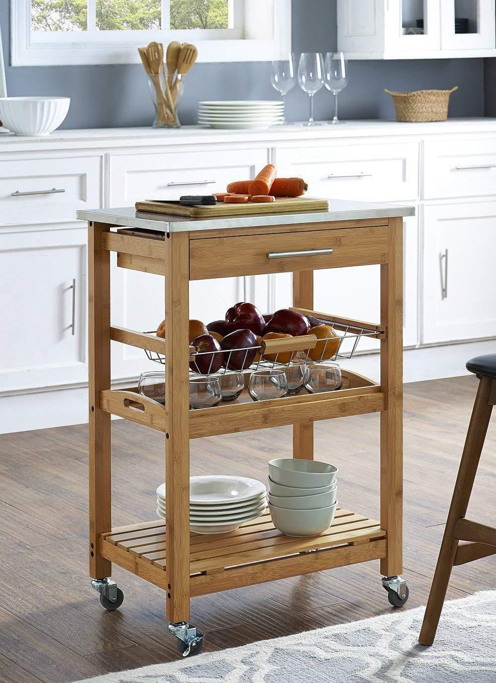 Amazon.com - Stainless Steel Top Kitchen Island, Portable ...