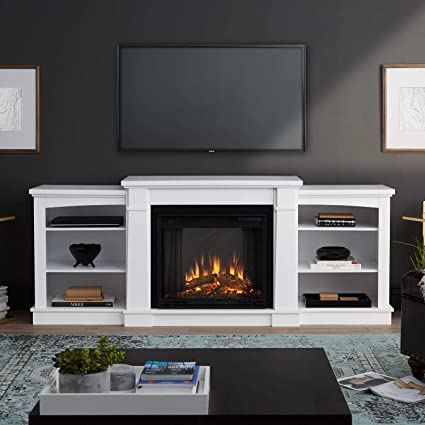 Amazon com: Real Flame Hawthorne Electric Fireplace TV Stand