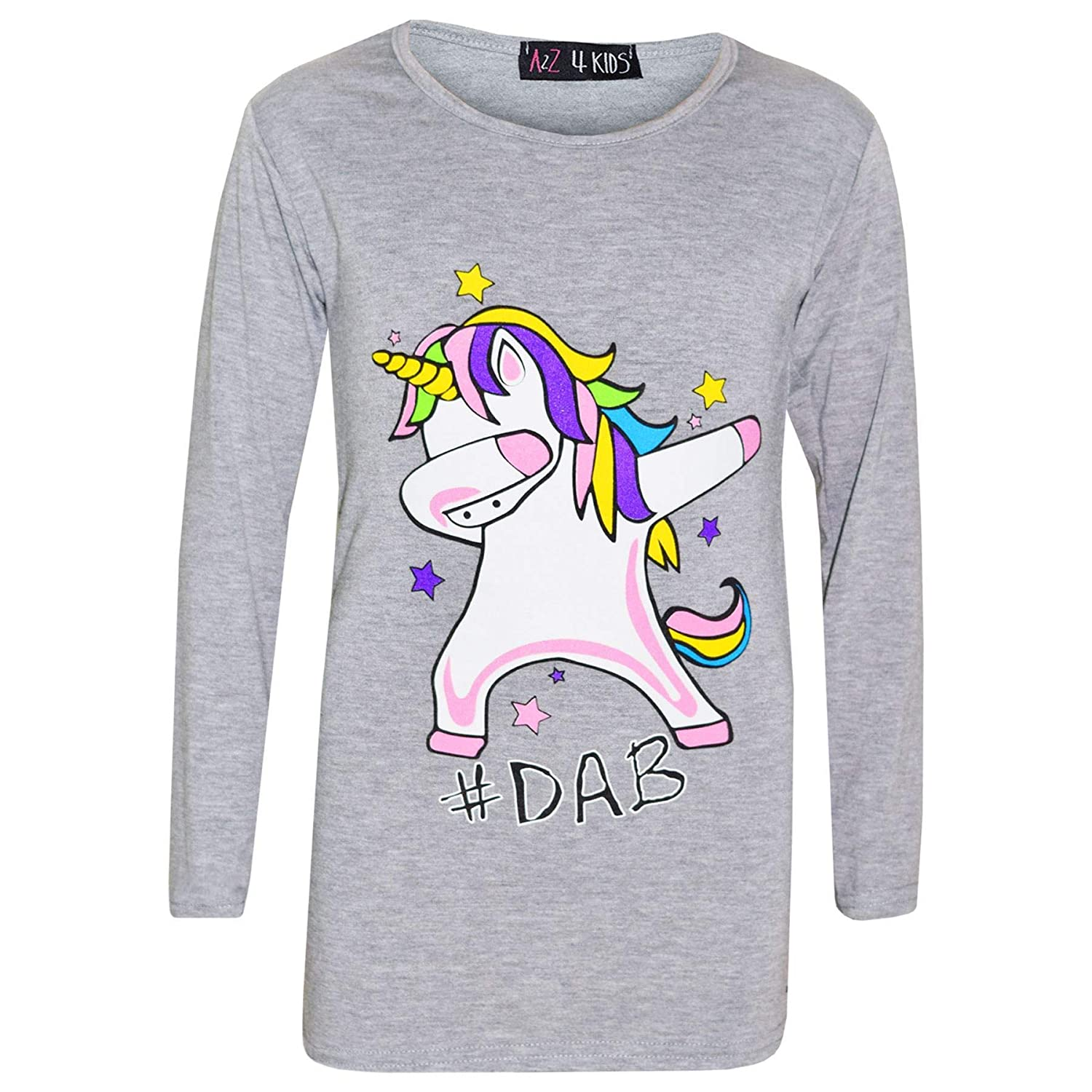 Kids Girls Rainbow Unicorn Dab Floss Grey Top /& Legging Outfit Set Age 7-13 Year