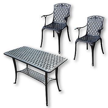 Lazy Susan - Mesa de apoyo para barbacoa y 2 sillas ROSE - Muebles de jardín