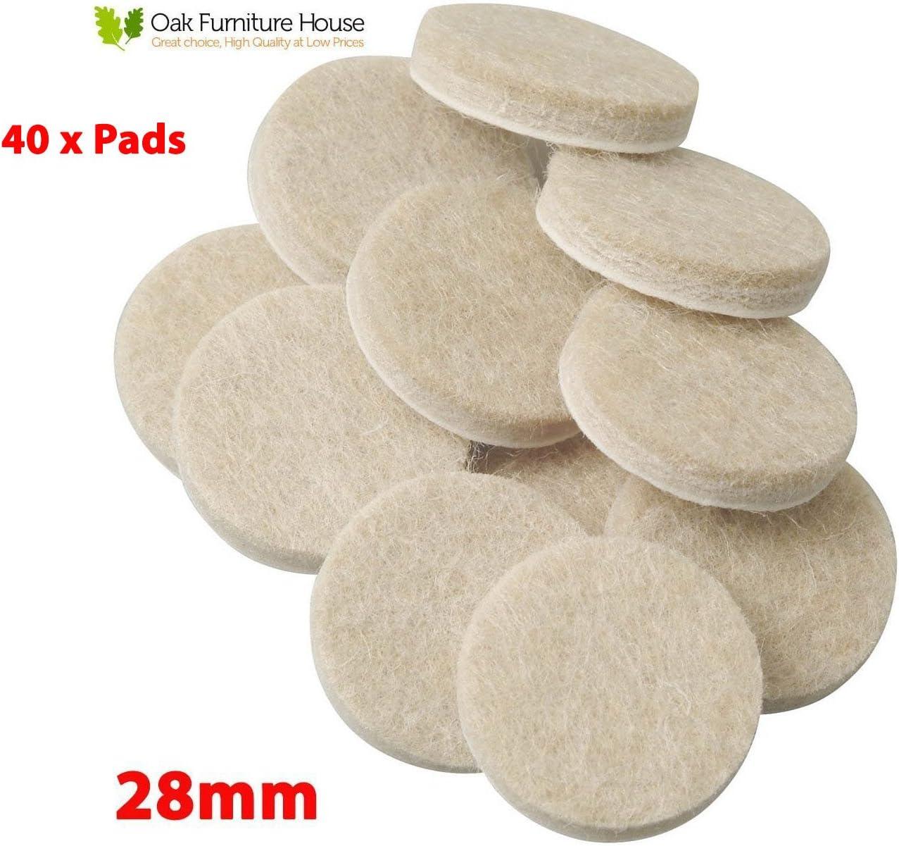 40 Oak Furniture Self Adhesive Felt Pads Wood Floor Protectors 28mm
