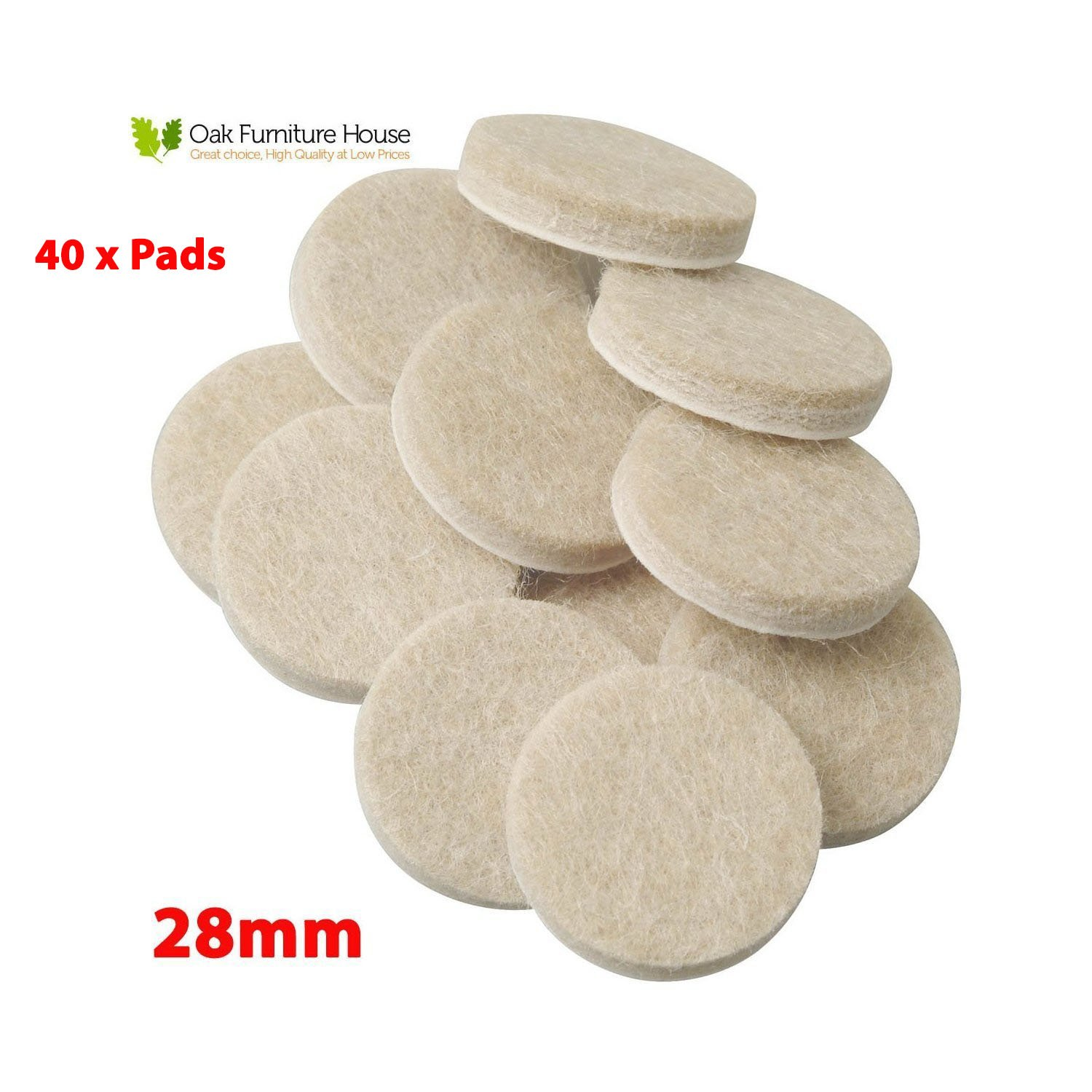 40 Oak Furniture Self Adhesive Felt Pads Wood Floor Protectors (28mm)