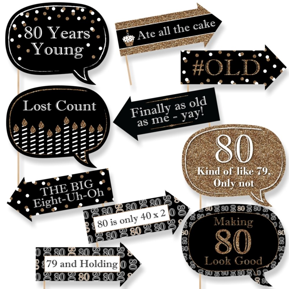 Amazon.com: Big Dot of Happiness Funny Adult 80th Birthday - Gold ...
