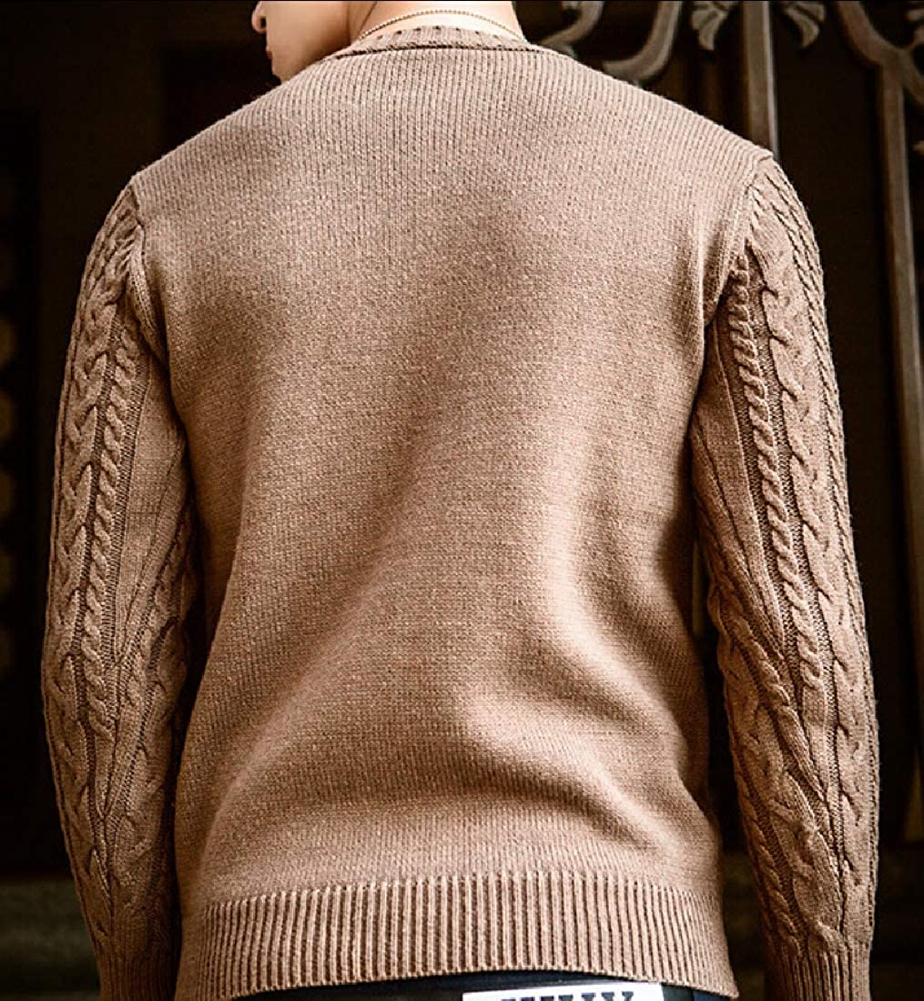 WSPLYSPJY Mens Knit Casual Crew Neck Long Sleeve Winter Warm Pullover Sweater Tops