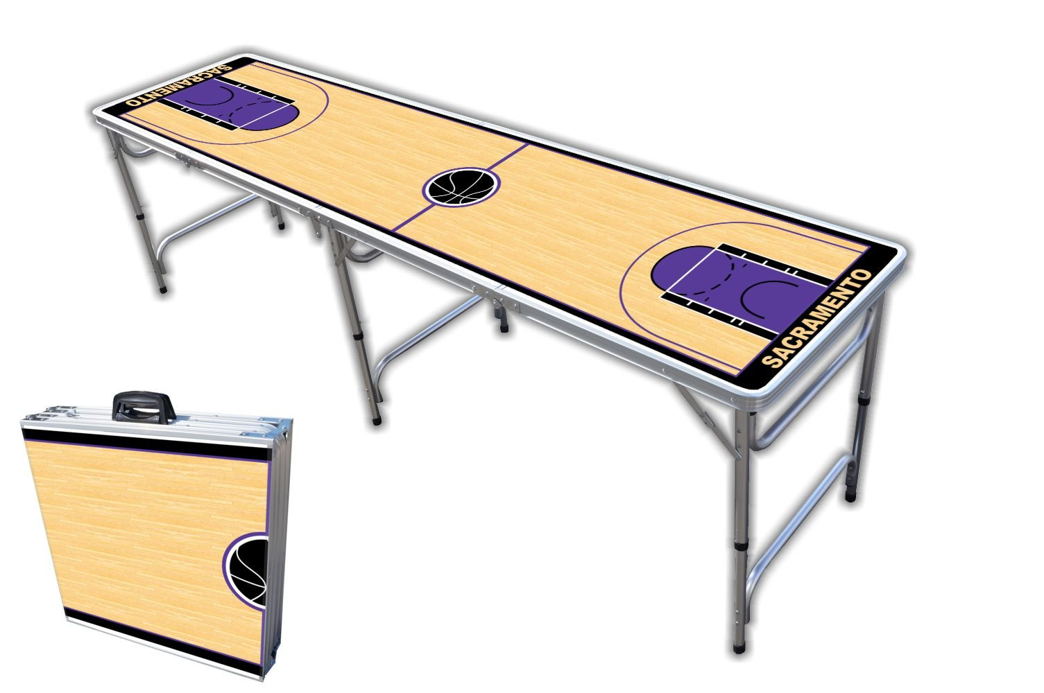 8-Foot Professional Beer Pong Table - Sacramento Basketball Court Graphic by PartyPongTables.com
