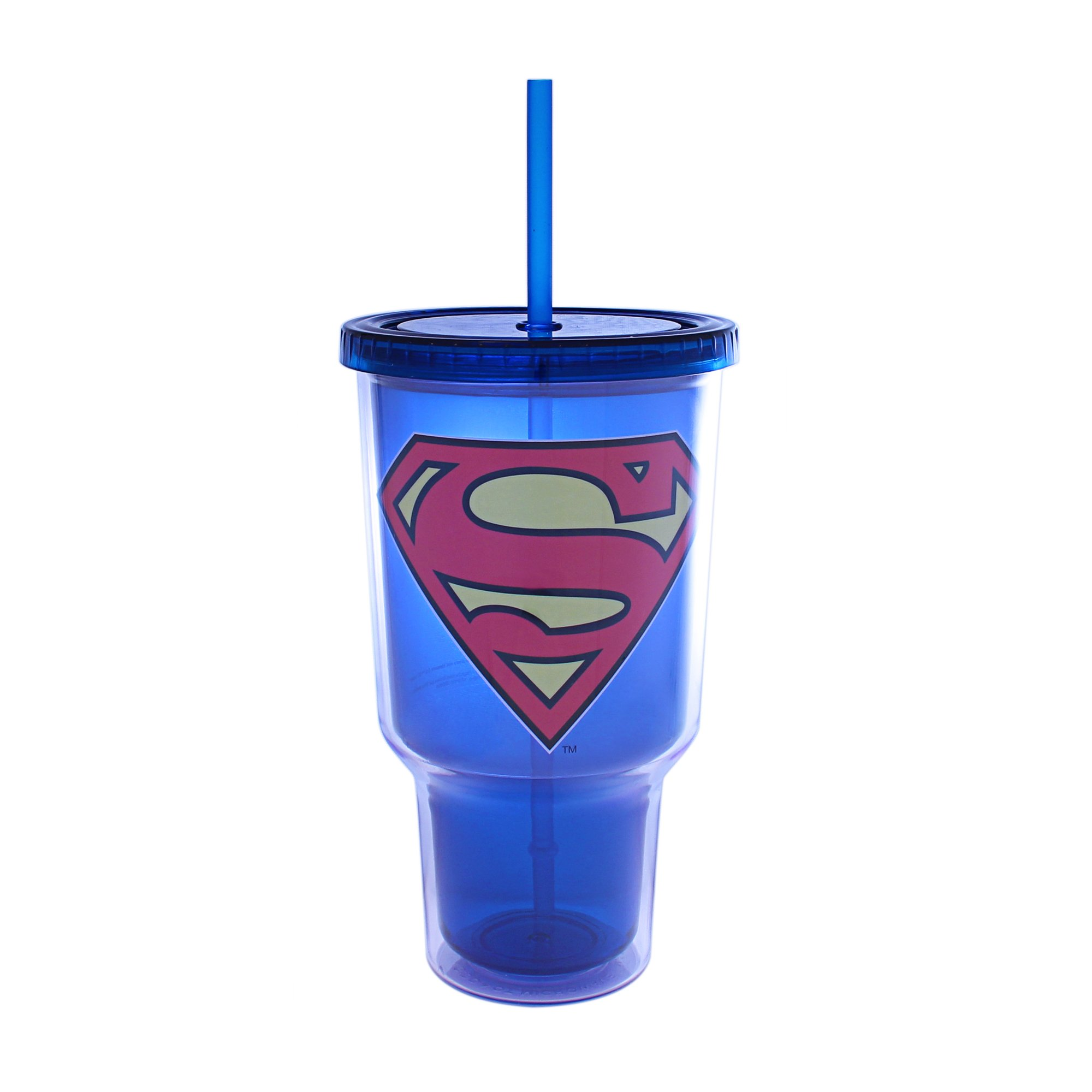 Silver Buffalo SP0217 DC Comics Superman Logo Plastic Jumbo Cold Cup 32 oz, Multicolor