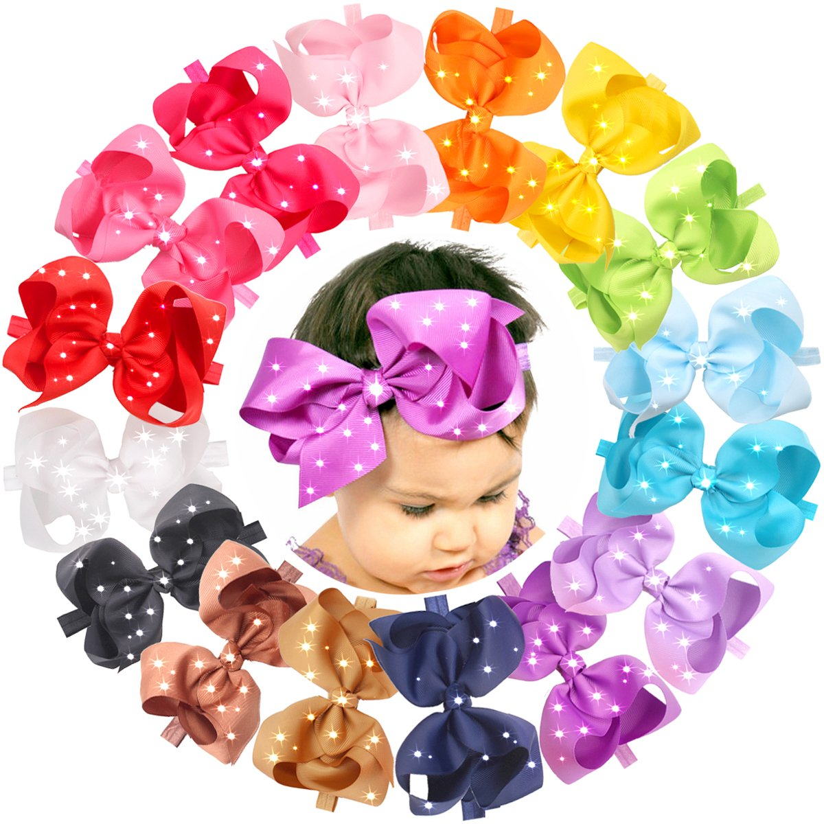 16pcs 6 inches Large Big Hair Bows With Sparkly Rhinestones CELLOT CELLOT-XY-R-c