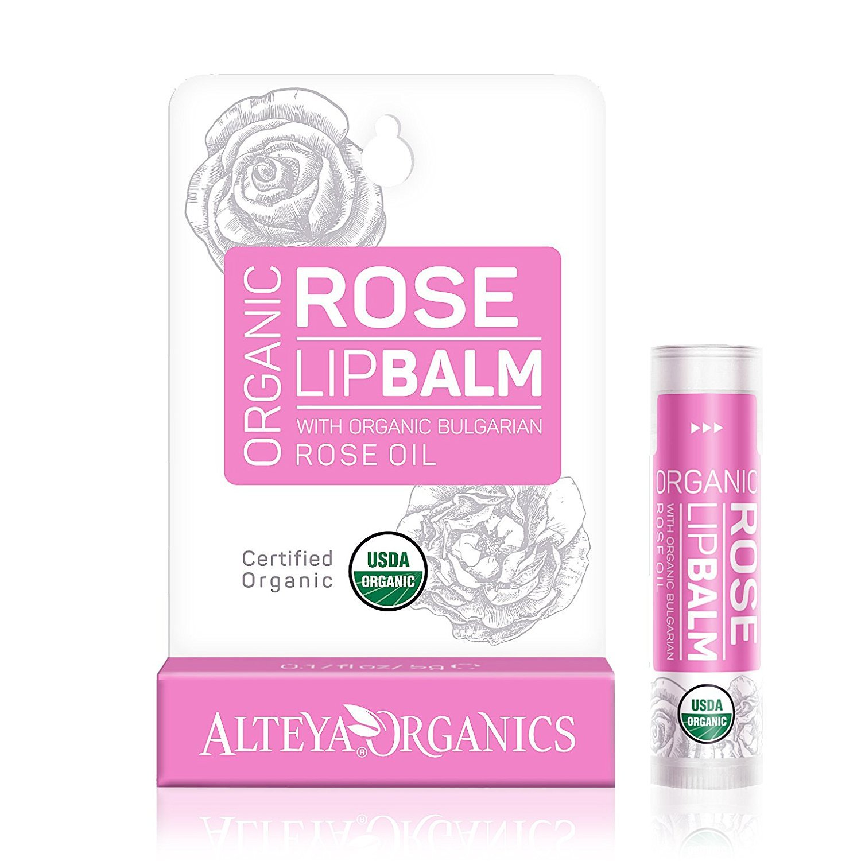 Organic Lip Balm - w/ Rose Oil - USDA certified organic