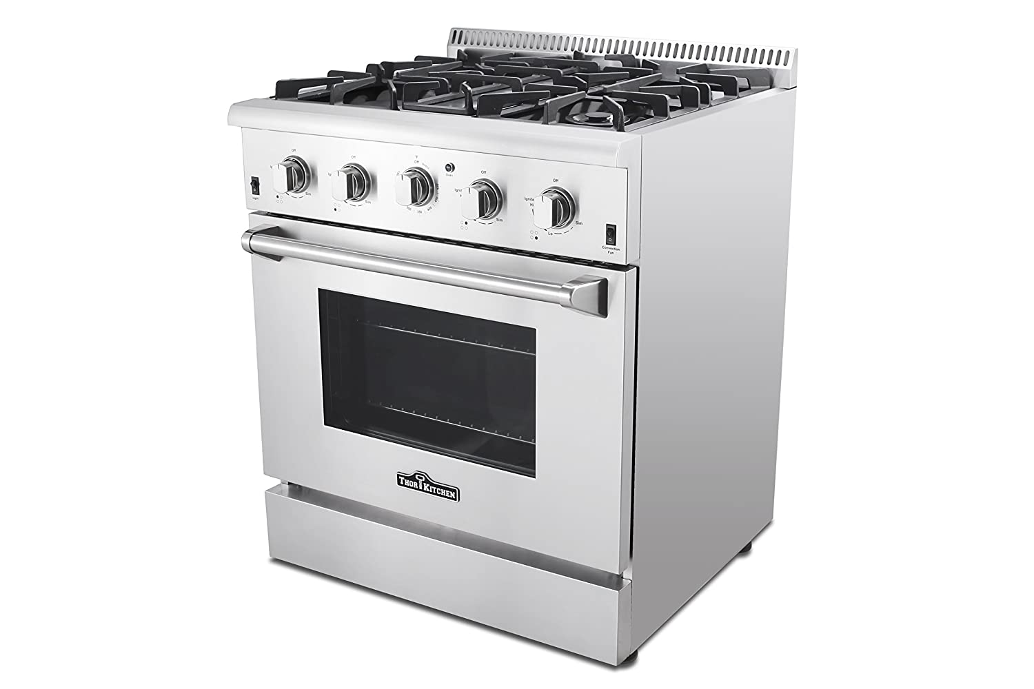 com thor kitchen hrgu standing professional com thor kitchen hrg3080u 30 standing professional style gas range 4 2 cu ft oven 4 burners convection fan cast iron grates