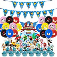 Mbetitony Sonic Party Supplies-Sonic Cake Topper-Cupcake Toppers-Birthday Banner-Balloon Set for Kids Shower Party Decorations