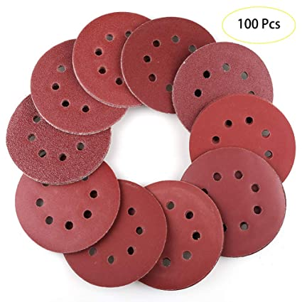 40-600 Grit Sandpaper for Drill Grinder Rotary Tool 100 Pieces 5 Inch Sanding Discs Hook and Loop Sand Paper Assortment Pack