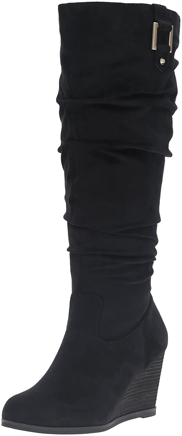 Dr. Scholl's Shoes Women's Poe Wide Calf Slouch Boot B01DF0BT6K 9 B(M) US|Black Microsuede