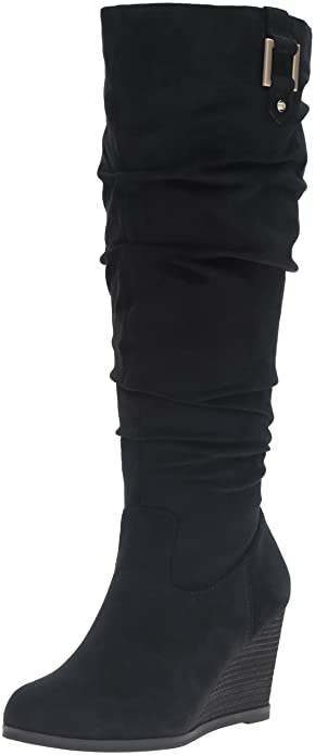 8b0bd743590b Dr. Scholl s Shoes Women s Poe Wide Calf Slouch Boot Black Microsuede ...
