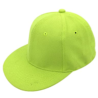 0723d8b1feb oriental spring Structured Elastic Mesh Baseball Cap Outdoor Sport Flexfit  Hat Adjustable (Green(Flat