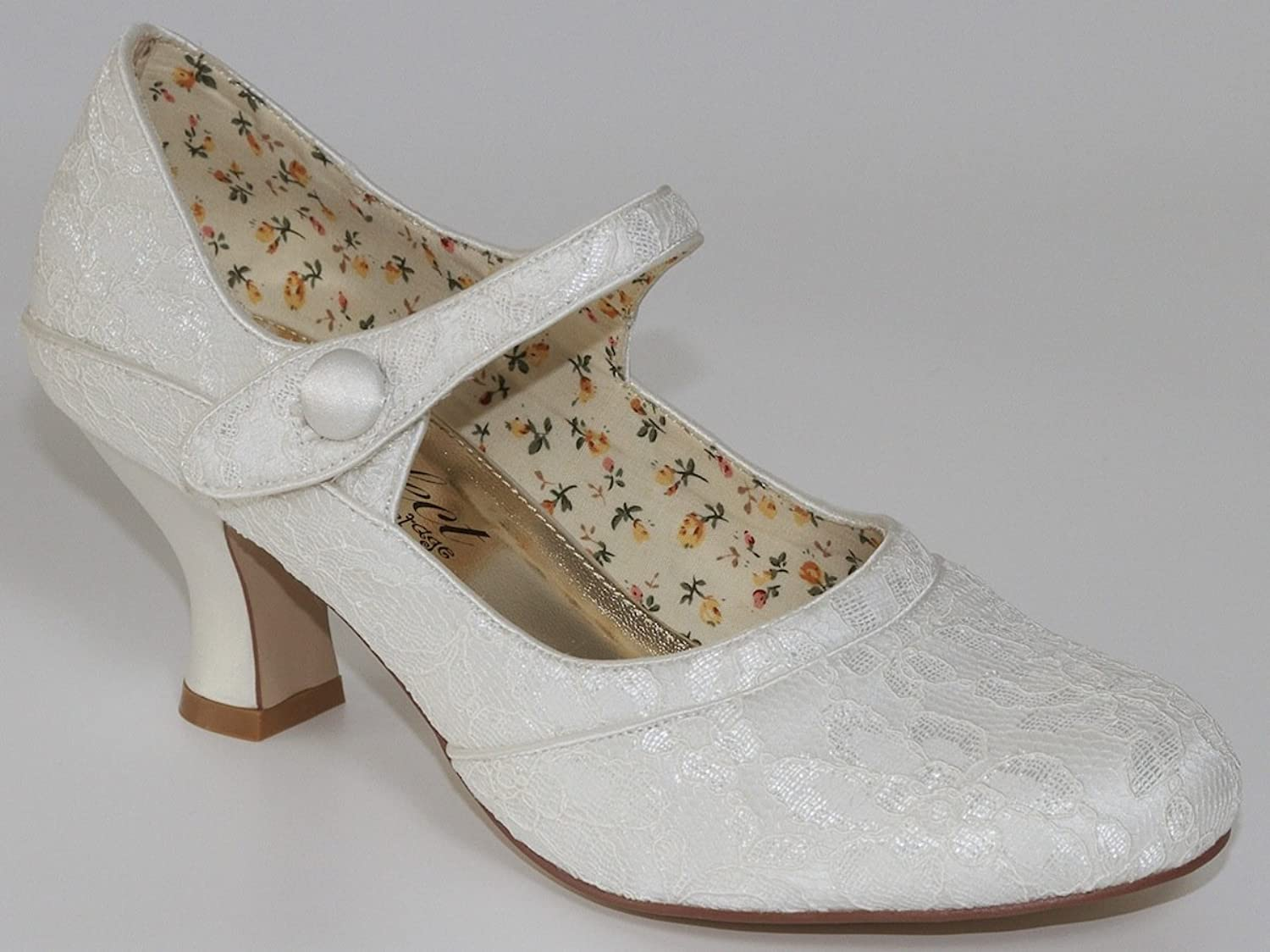 Ivory Lace Bridal Shoe Esta Mid Heel 7UK 41 EU Amazonco Uk Shoes Bags