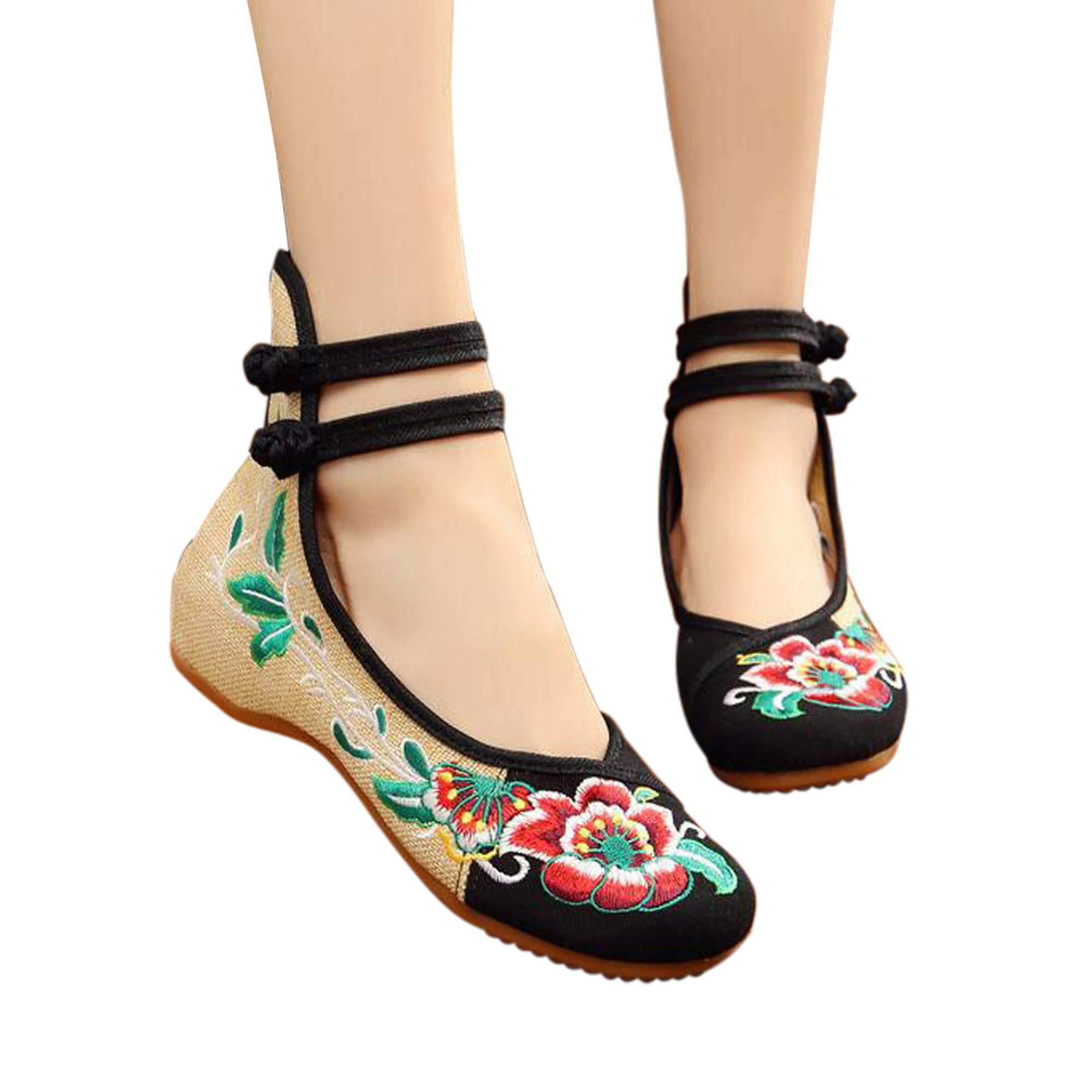 Embroidered Shoes Flats Loafers Women Ballet Low Heels Pumps Ballerina Fabric Cloth Canvas Height Increased Comfortable Chinese Flower Hightop Mary Jane Lace-up Vintage(6 B(M) US/CN37/23.5CM,Black)