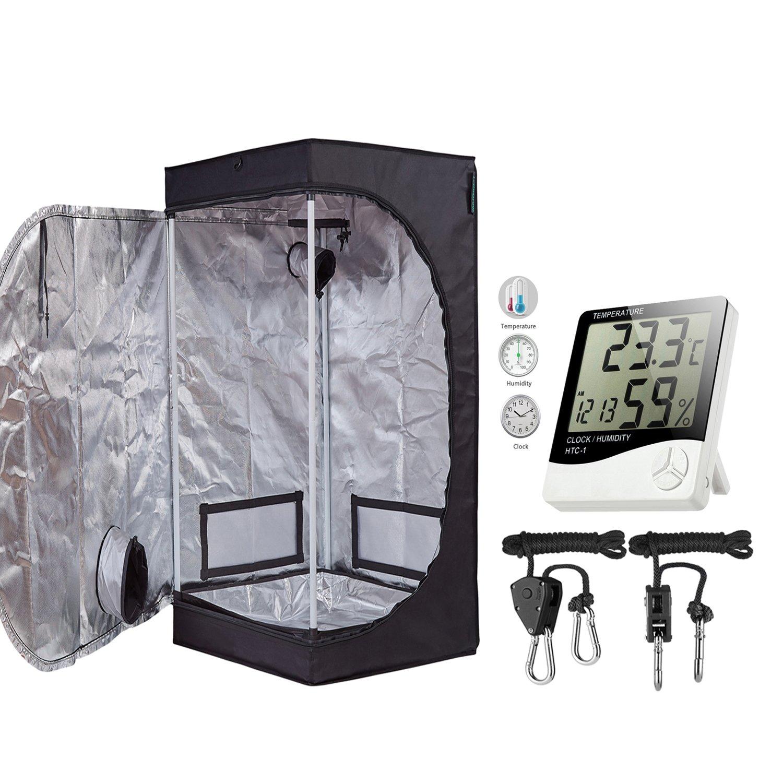 TopoGrow 24''X24''X48'' Mylar Hydroponic Grow Tent Kit W/Digital Hygrometer Thermometer Humidity Monitor+2 PCS/1 Pair Rope Grow Light Hangers Ratchet Indoor Plant Growing (24''X24''X48'')