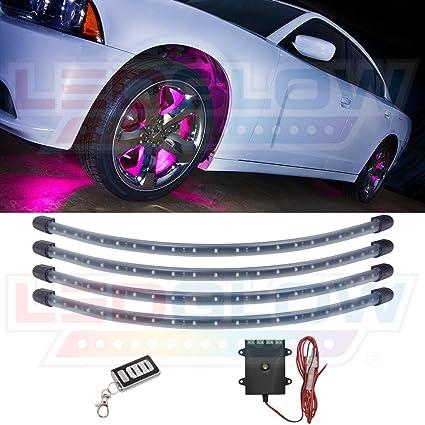 LEDGlow 4pc Pink LED Wheel Well Fender Light Kit - Flexible Waterproof Tubes - Includes Wireless  sc 1 st  Amazon.com & Amazon.com: LEDGlow 4pc Pink LED Wheel Well Fender Light Kit ...