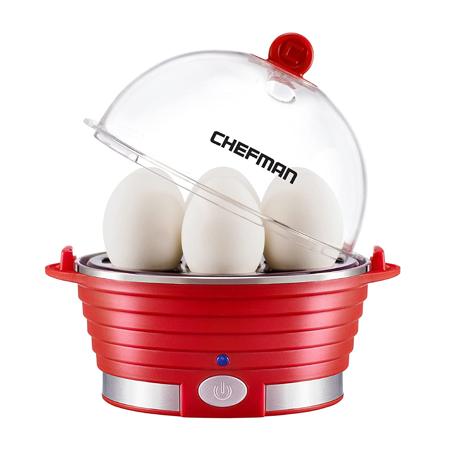 Chefman Electric Egg Cooker/Boiler, Rapid Egg Maker, Countertop Modern Stylish Design, Hard Boil Egg Steamer and Poacher, 6 Egg Capacity With Removable Tray - Red