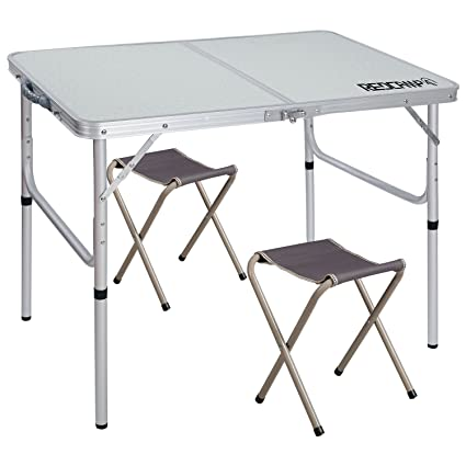 REDCAMP Folding Camping Table Adjustable, Portable Picnic Table With 2  Chairs, Aluminum White 35.4u0026quot