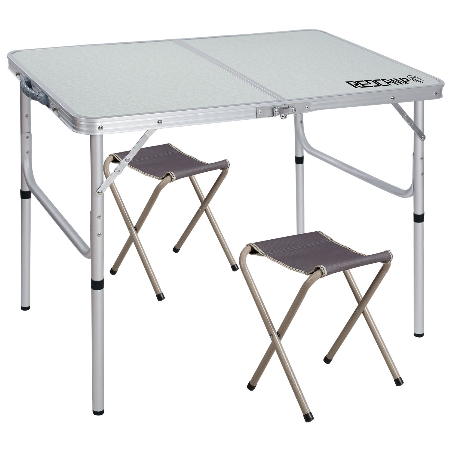 REDCAMP Folding Camping Table Adjustable, Portable Picnic Table with 2 Chairs, Aluminum White 35.4''x23.6''x15''/27.6''