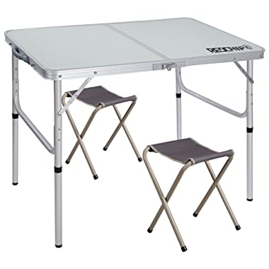 REDCAMP Folding Camping Table Adjustable, Portable Picnic Table with 2 Chairs, Aluminum White 35.4 x23.6 x15''/27.6