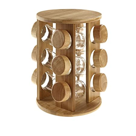 12 GLASS JAR SET BAMBOO WOODEN REVOLVING ROTATING STAND HERBS SPICE RACK  KITCHEN HOME COOKING CHEF